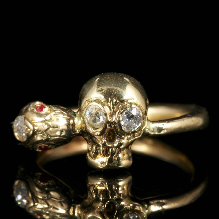 Momento Mori Diamond Yellow Gold Skull Snake Ring at 1stdibs