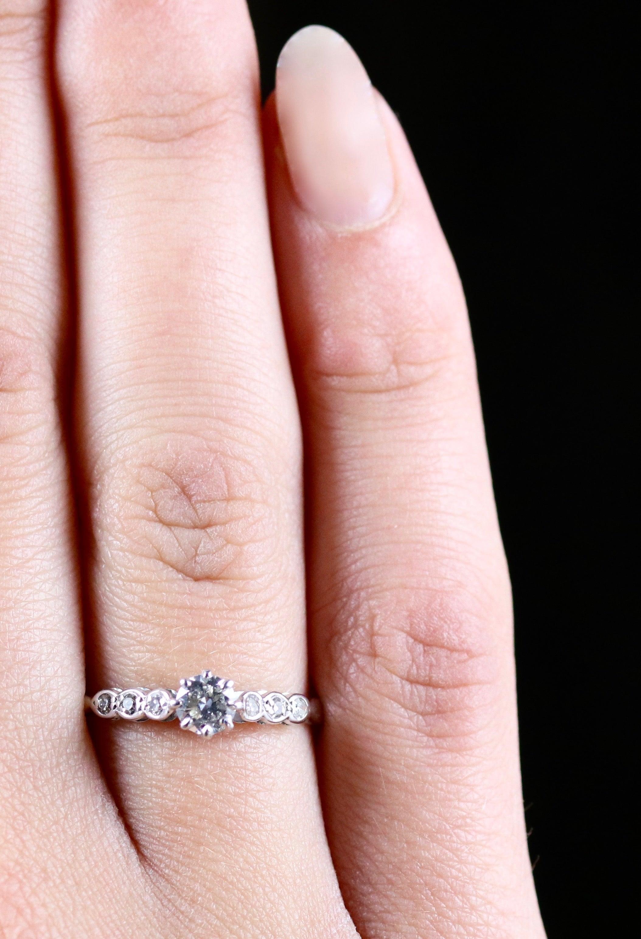 Antique Edwardian Diamond Engagement Ring 18 Carat White Gold, circa ...