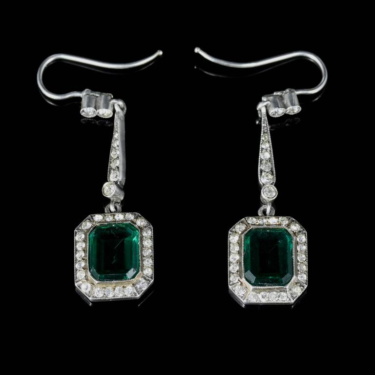 These Wonderful Long Art Deco Earrings Are Set In Sterling Silver And Steeped English History