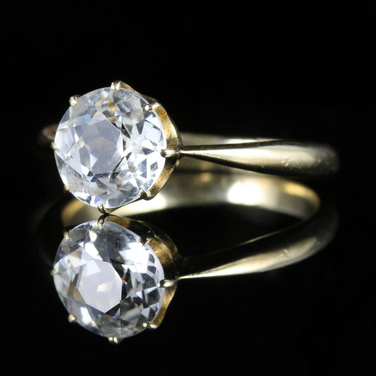 Antique Victorian White Sapphire Solitaire Engagement Ring At 1stdibs