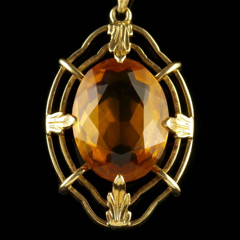 Vintage citrine pendant and chain 14 carat gold 1950 at 1stdibs this beautiful 14ct yellow gold pendant and chain is circa 1950 the stunning pendant is aloadofball Choice Image