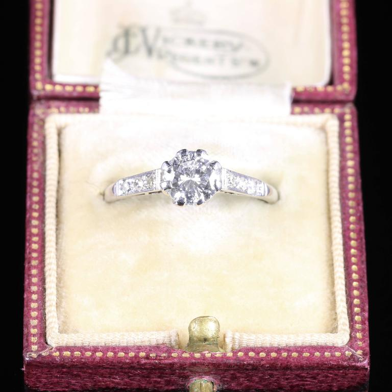 Antique Edwardian Diamond Solitaire Engagement Ring circa 1910 Platinum For Sale 4