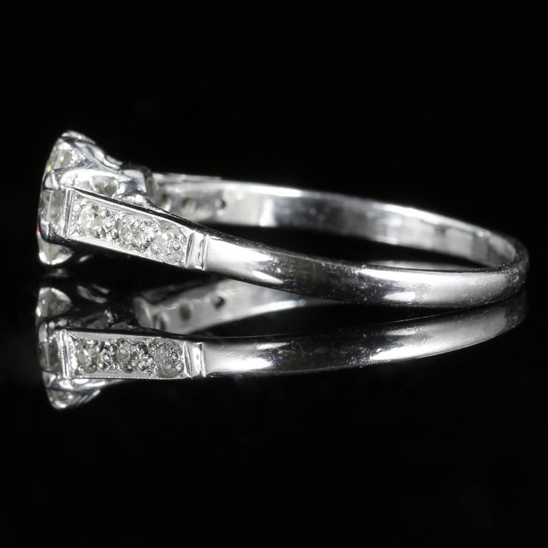 Antique Edwardian Diamond Solitaire Engagement Ring circa 1910 Platinum For Sale 1