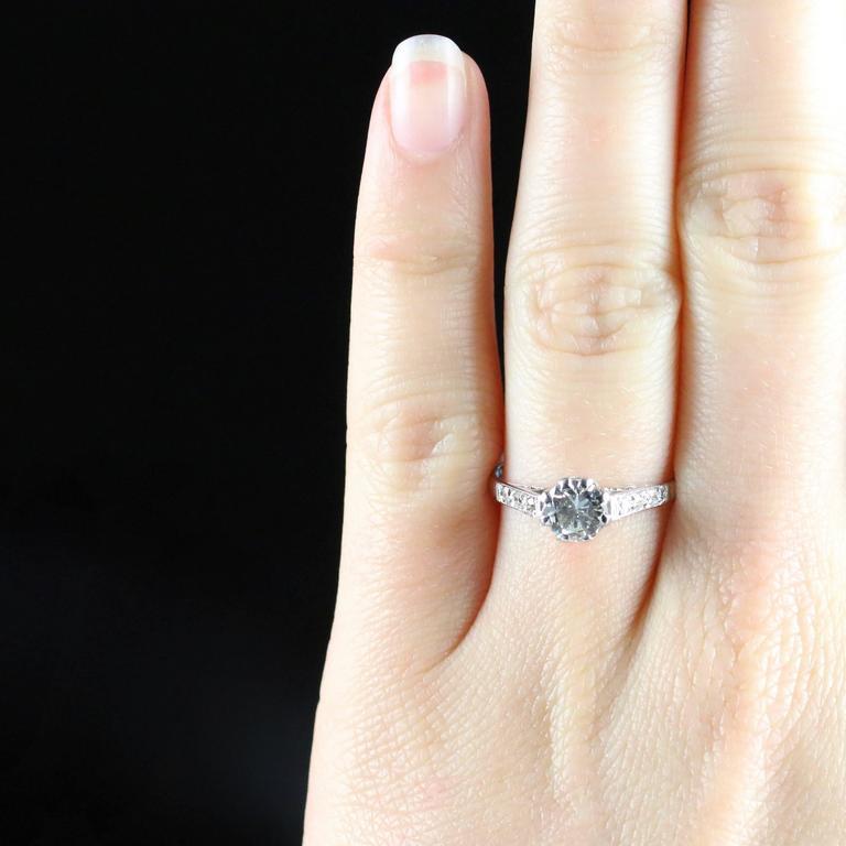 Antique Edwardian Diamond Solitaire Engagement Ring circa 1910 Platinum For Sale 5