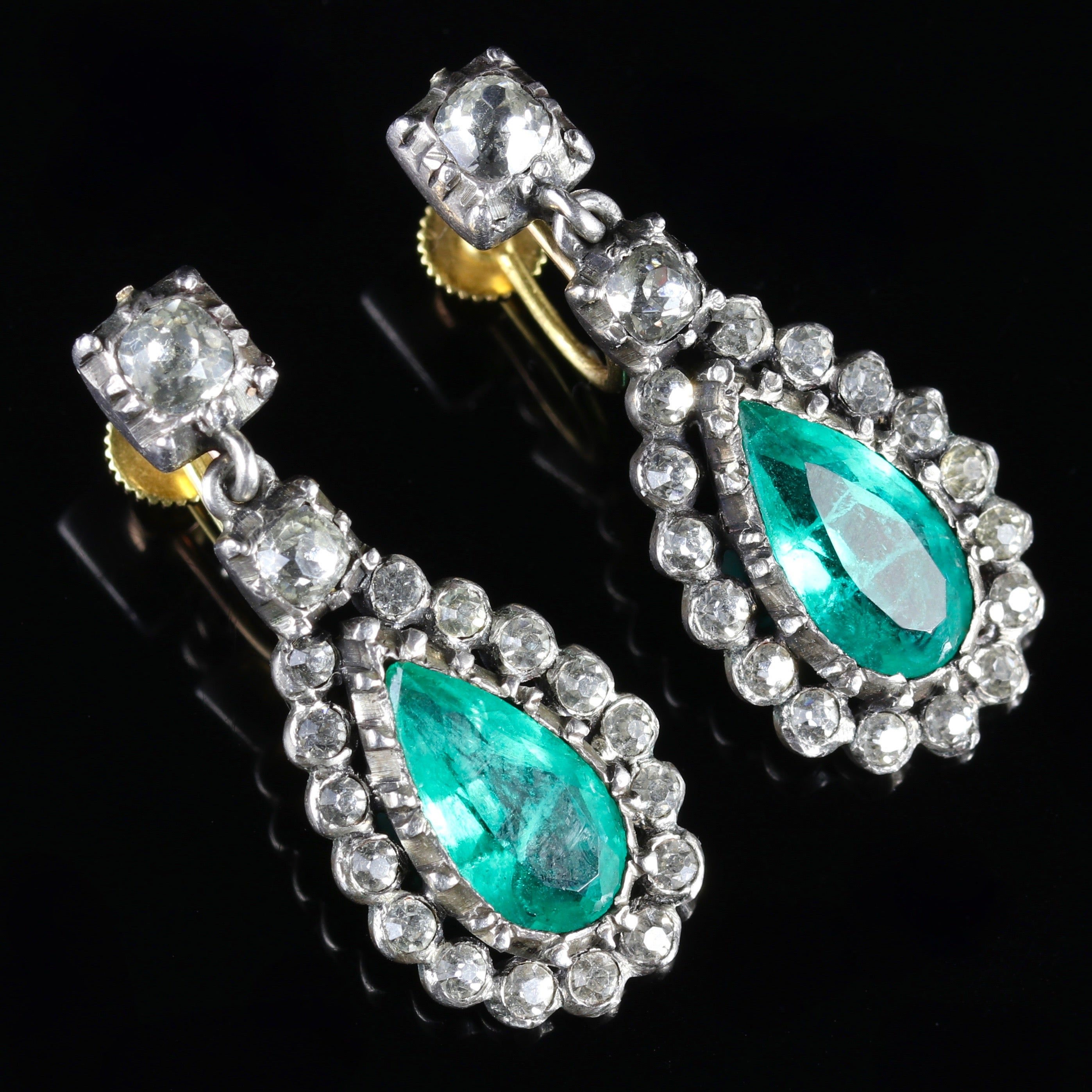 pearl gold matte plated diamond jhumkha emerald earrings fancy hanging antique