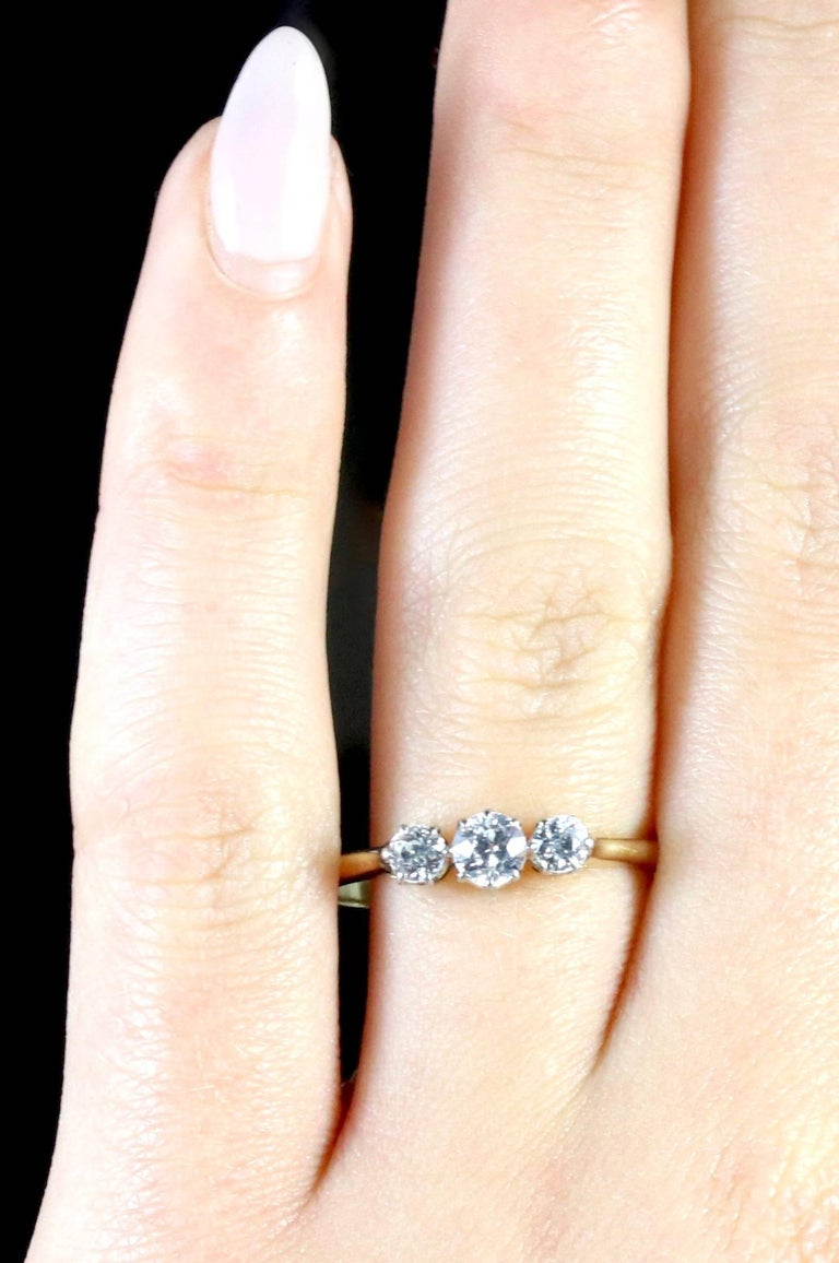 ring platinum o itm three gold vintage stone diamond carat rings size engagement