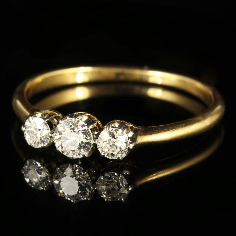 Women's Antique Edwardian Diamond Trilogy Ring 18 Carat Gold circa 1910 Engagement Ring For Sale