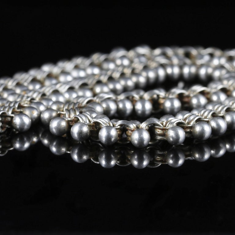 Women's or Men's Antique Victorian Sterling Silver Collar Necklace, circa 1880 For Sale