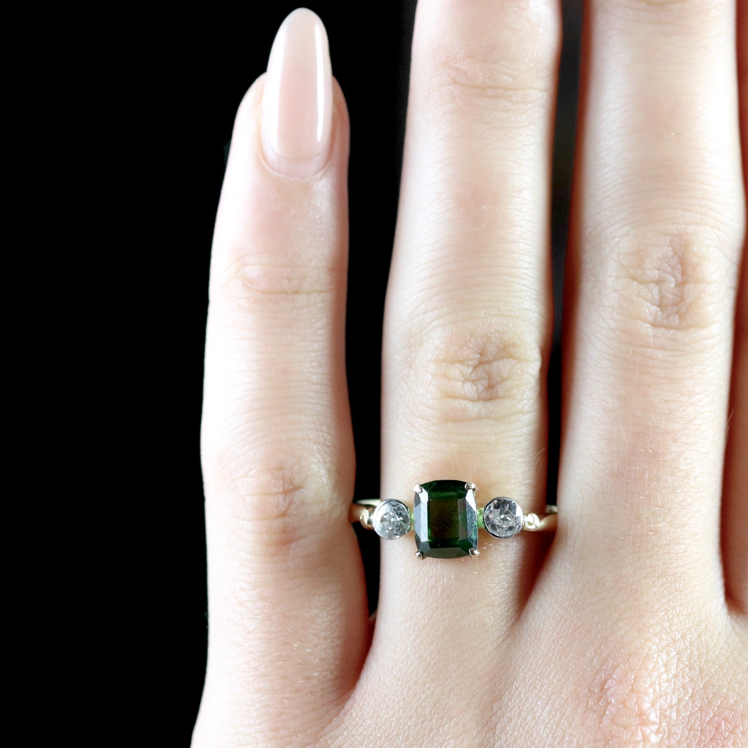 in cut with diamonds green gold white tw rings cushion pin tourmaline ring