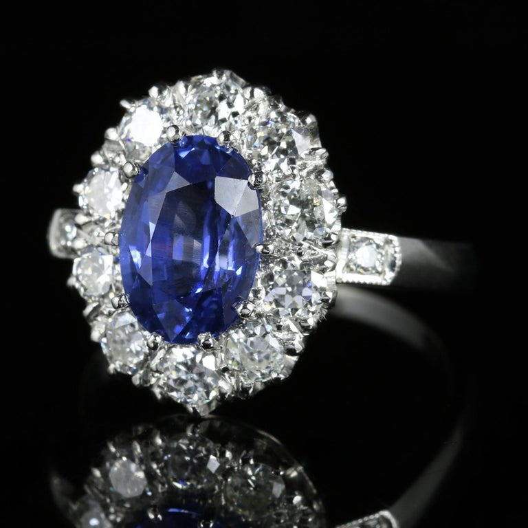 For more details please click continue reading down below..  This fabulous all Platinum Edwardian ring is set with the most breathtakingly beautiful natural Ceylon untreated Sapphire, with certificate.  Circa 1910  The Sapphire weighs 2.64ct in size
