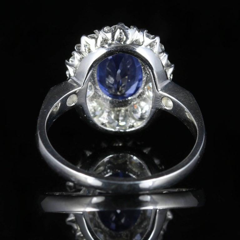 Modern Antique Edwardian Natural Sapphire Diamond Ring Platinum Circa 1910 For Sale