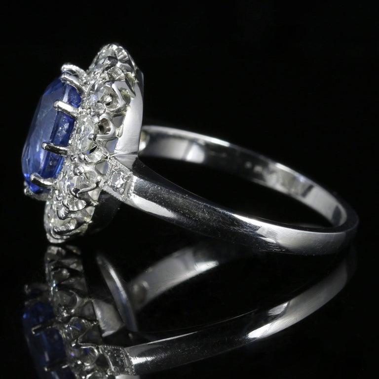 Women's Antique Edwardian Natural Sapphire Diamond Ring Platinum Circa 1910 For Sale