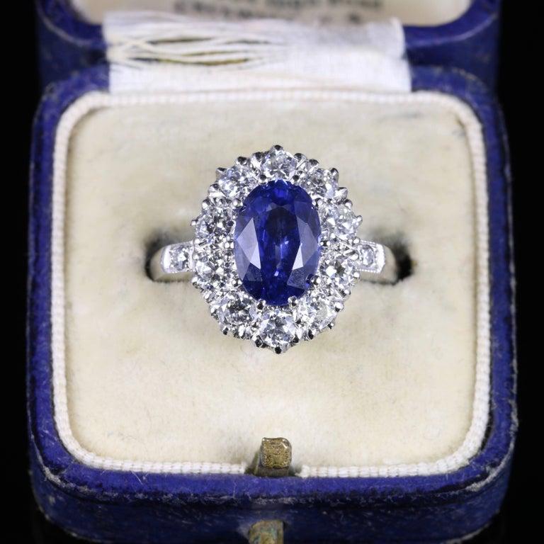 Antique Edwardian Natural Sapphire Diamond Ring Platinum Circa 1910 For Sale 3
