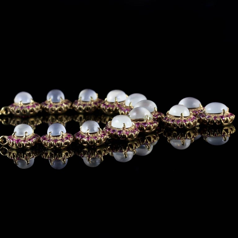 Antique Victorian Moonstone Ruby Gold Silver Necklace 1
