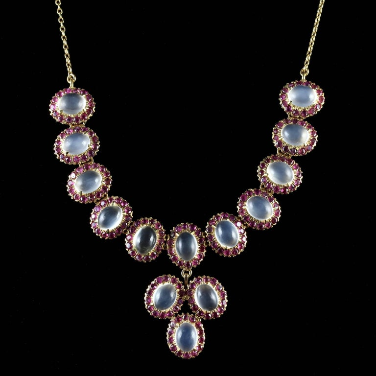 Antique Victorian Moonstone Ruby Gold Silver Necklace In Excellent Condition In Lancaster, Lancashire