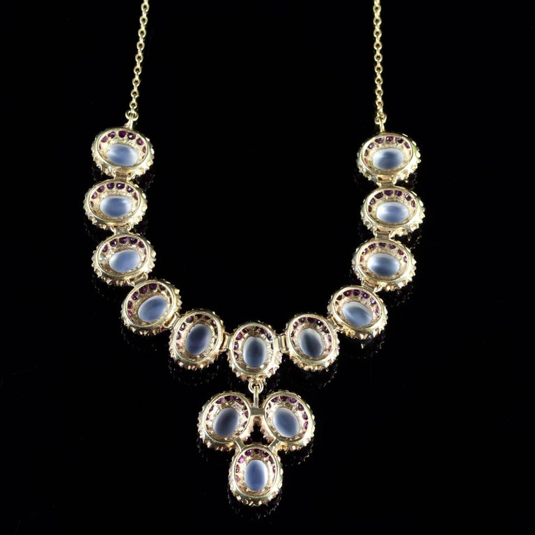 Women's Antique Victorian Moonstone Ruby Gold Silver Necklace