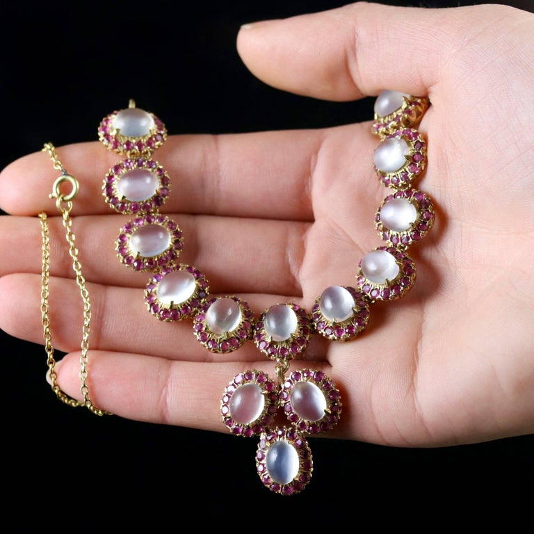 Antique Victorian Moonstone Ruby Gold Silver Necklace 4
