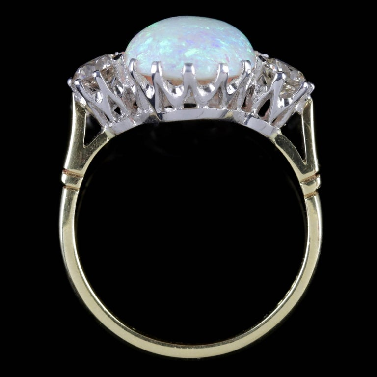 Antique Victorian Opal Diamond Ring 15 Carat Gold Natural Opal, circa 1900 For Sale 3
