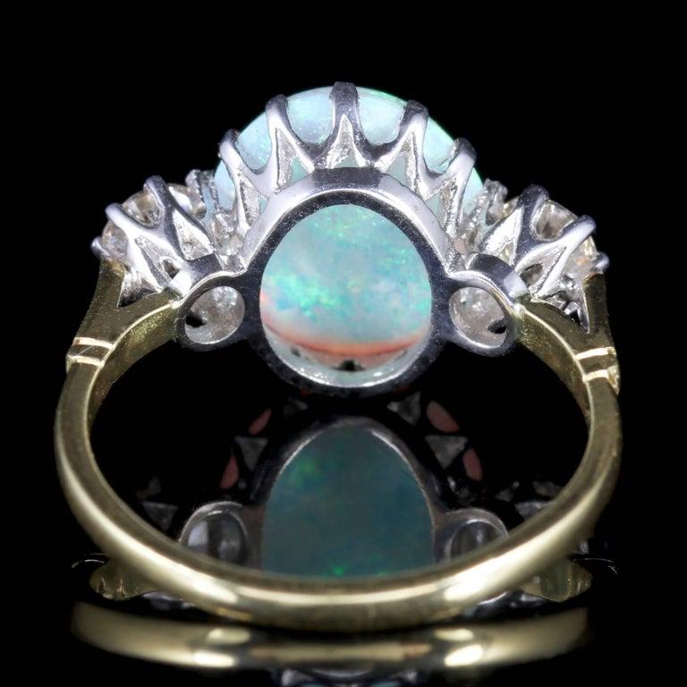 Women's Antique Victorian Opal Diamond Ring 15 Carat Gold Natural Opal, circa 1900 For Sale