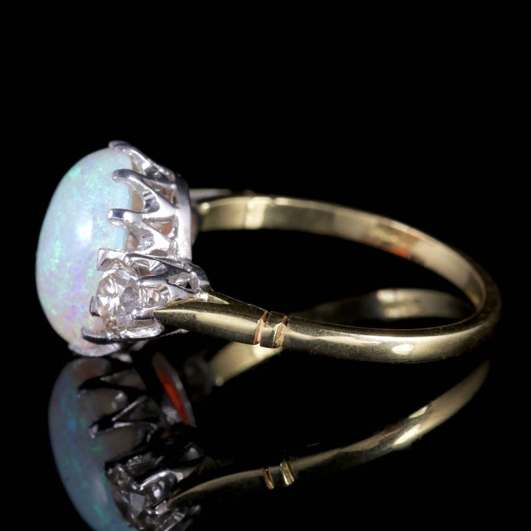 Antique Victorian Opal Diamond Ring 15 Carat Gold Natural Opal, circa 1900 In Excellent Condition For Sale In Lancaster, Lancashire