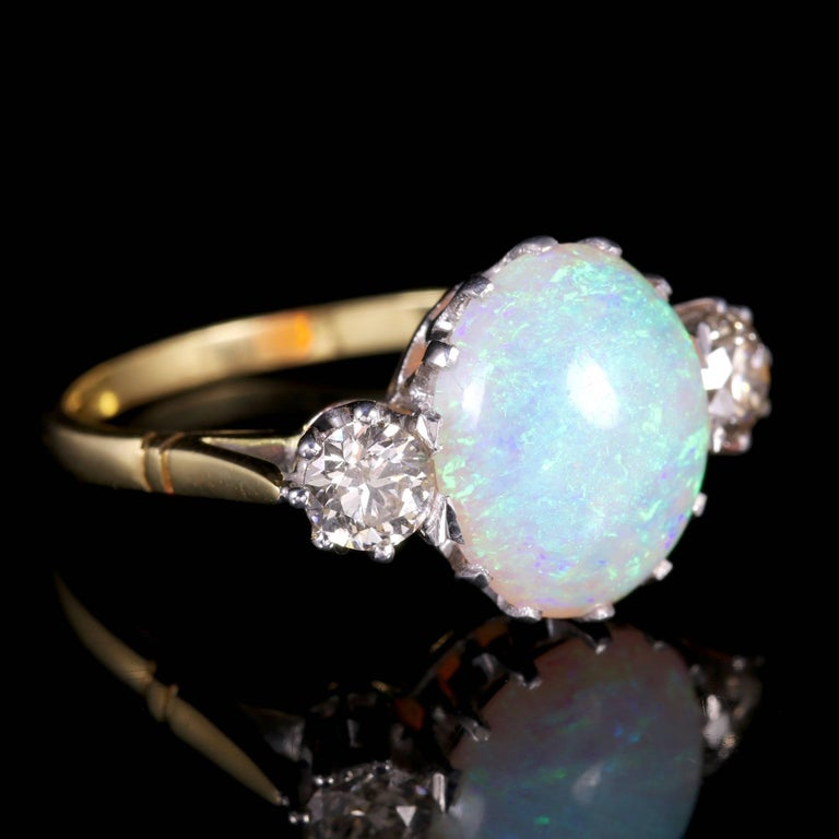 Antique Victorian Opal Diamond Ring 15 Carat Gold Natural Opal, circa 1900 For Sale 1
