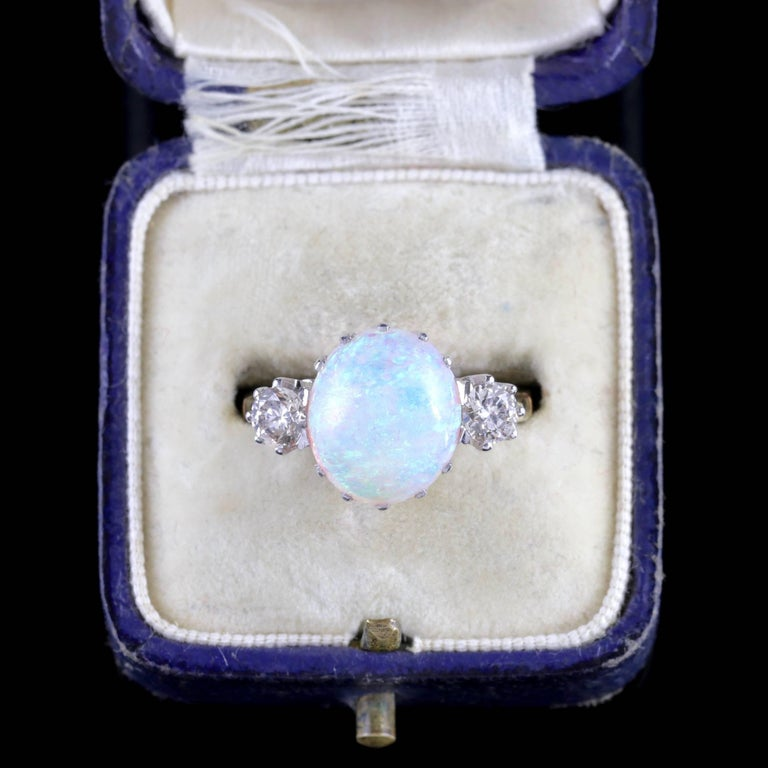 Antique Victorian Opal Diamond Ring 15 Carat Gold Natural Opal, circa 1900 For Sale 4