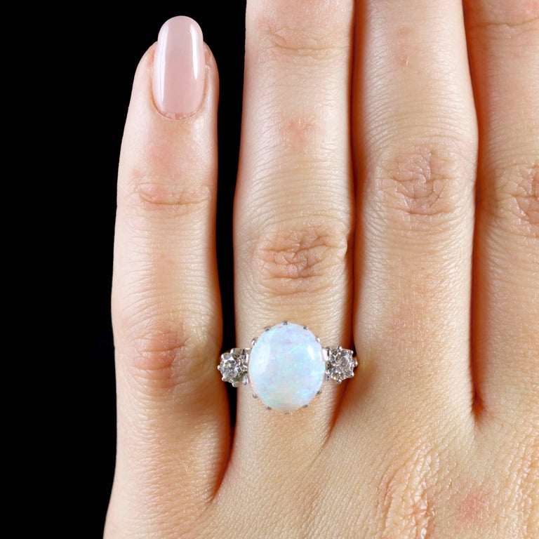 Antique Victorian Opal Diamond Ring 15 Carat Gold Natural Opal, circa 1900 For Sale 5