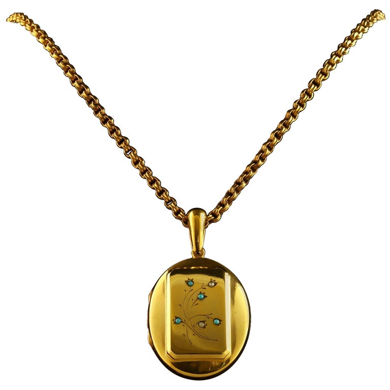 Antique Victorian Turquoise Gold Locket and Necklace
