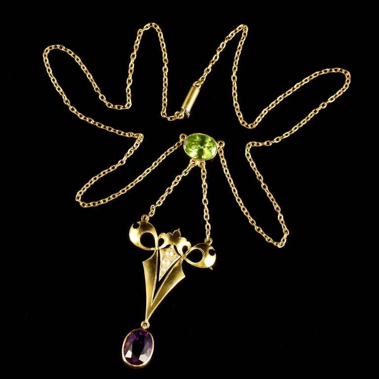 Antique Victorian Suffragette Necklace 15 Carat Gold 2.50 Carat Amethyst In Excellent Condition For Sale In Lancaster, Lancashire