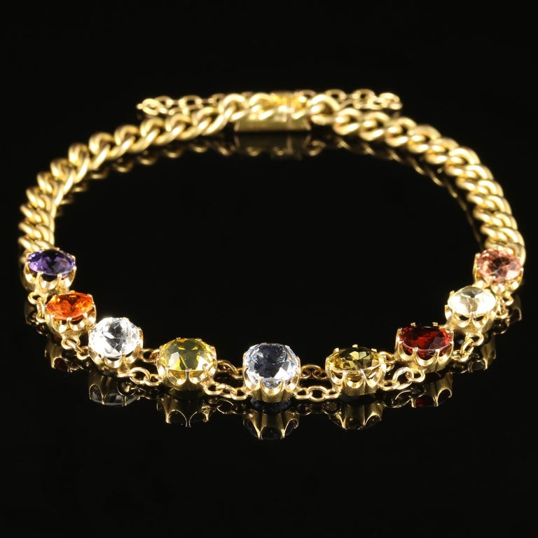 Antique Victorian Gemstone Bracelet 15 Carat Gold Circa 1890 In Excellent Condition For