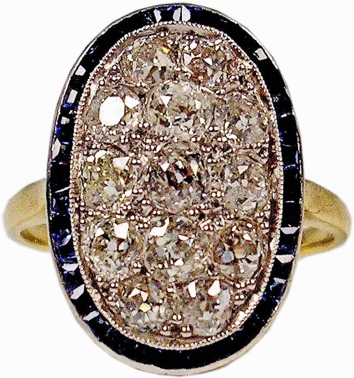 1920s Austria Art Nouveau 2.0 Carats Diamonds Sapphires Gold Ring
