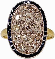 1920s Austria Art Nouveau 2.0 Carats Diamonds Sapphires Gold Ring