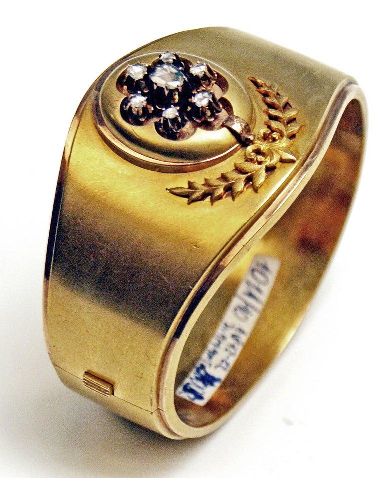 Antique Vienna Austria Gold Diamond Bracelet and Brooch 7