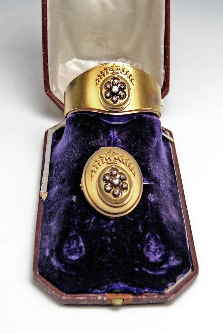 Antique Vienna Austria Gold Diamond Bracelet and Brooch 2