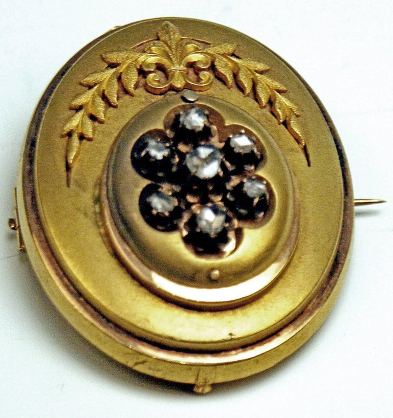 Antique Vienna Austria Gold Diamond Bracelet and Brooch 3
