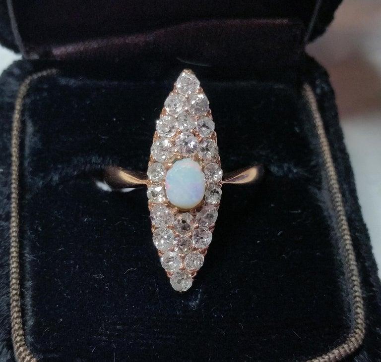 Old European Cut Art Nouveau Ring Navette Rose Gold 585 Diamonds 1.5 Carat, Austria, circa 1900 For Sale
