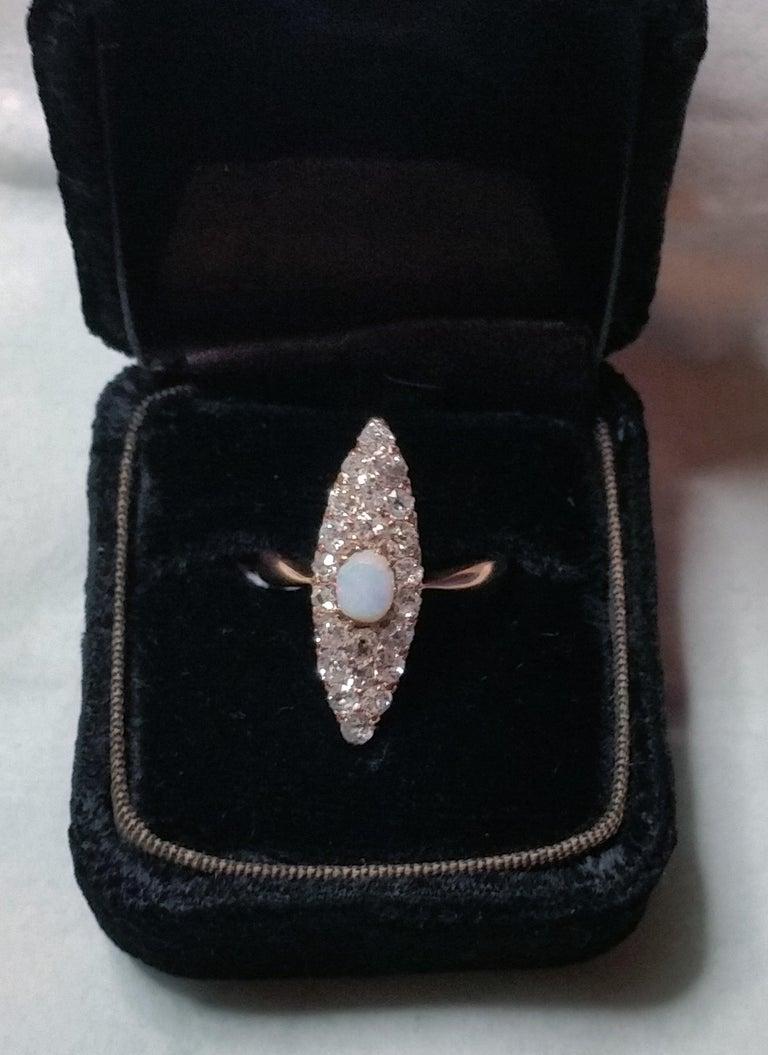 Women's Art Nouveau Ring Navette Rose Gold 585 Diamonds 1.5 Carat, Austria, circa 1900 For Sale