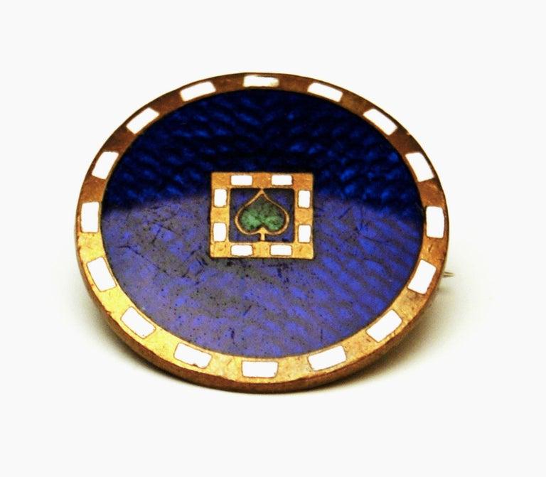 Art Nouveau Brooch Josef Hoffmann Enamel Copper Maker Johann Souval Wiener Werkstaette, 1910 For Sale