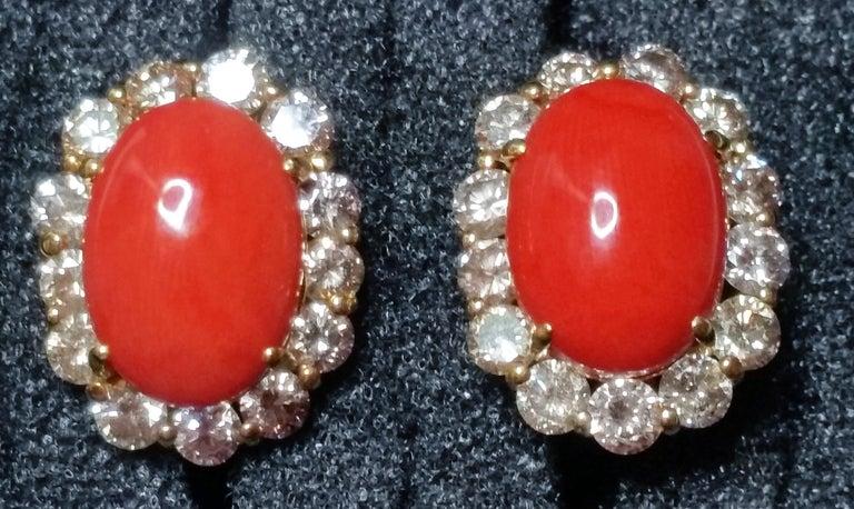 Women's Cluster Earrings 14 Carat Gold 585 Diamonds 4.0 Carat Corals Vienna Austria For Sale