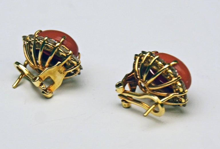 Art Deco Cluster Earrings 14 Carat Gold 585 Diamonds 4.0 Carat Corals Vienna Austria For Sale