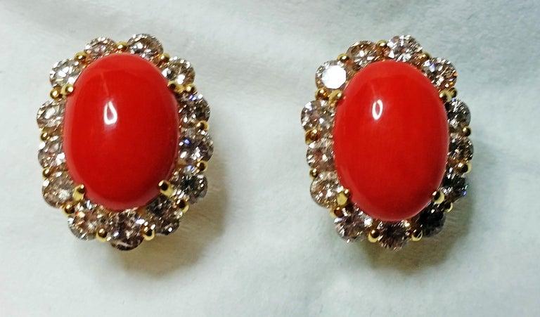 Old European Cut Cluster Earrings 14 Carat Gold 585 Diamonds 4.0 Carat Corals Vienna Austria For Sale