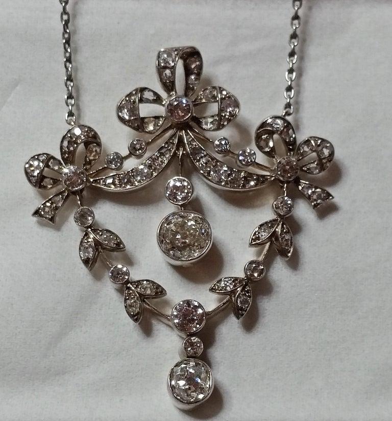 Old European Cut Art Nouveau Necklace Brooch Gold 585 Diamonds '3.0 Carat' by Halder Vienna For Sale