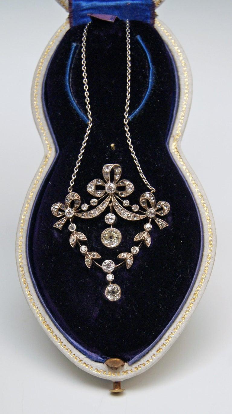 Art Nouveau Necklace Brooch Gold 585 Diamonds '3.0 Carat' by Halder Vienna For Sale 4