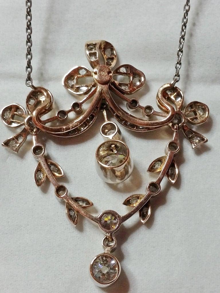 Women's Art Nouveau Necklace Brooch Gold 585 Diamonds '3.0 Carat' by Halder Vienna For Sale