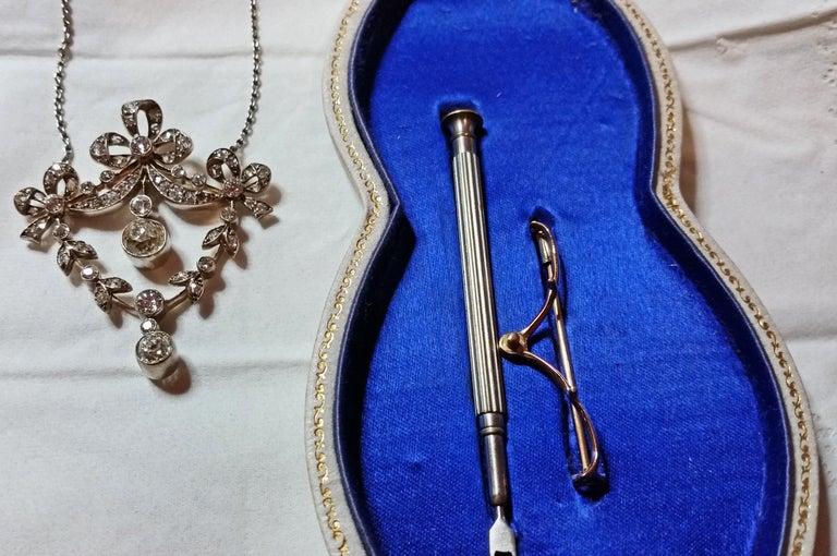 Art Nouveau Necklace Brooch Gold 585 Diamonds '3.0 Carat' by Halder Vienna For Sale 1