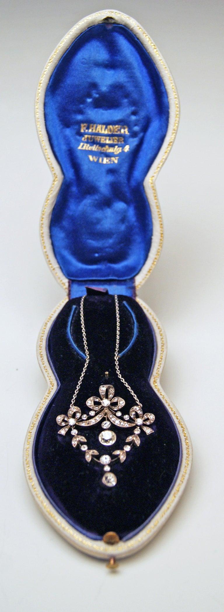 Art Nouveau Necklace Brooch Gold 585 Diamonds '3.0 Carat' by Halder Vienna For Sale 2