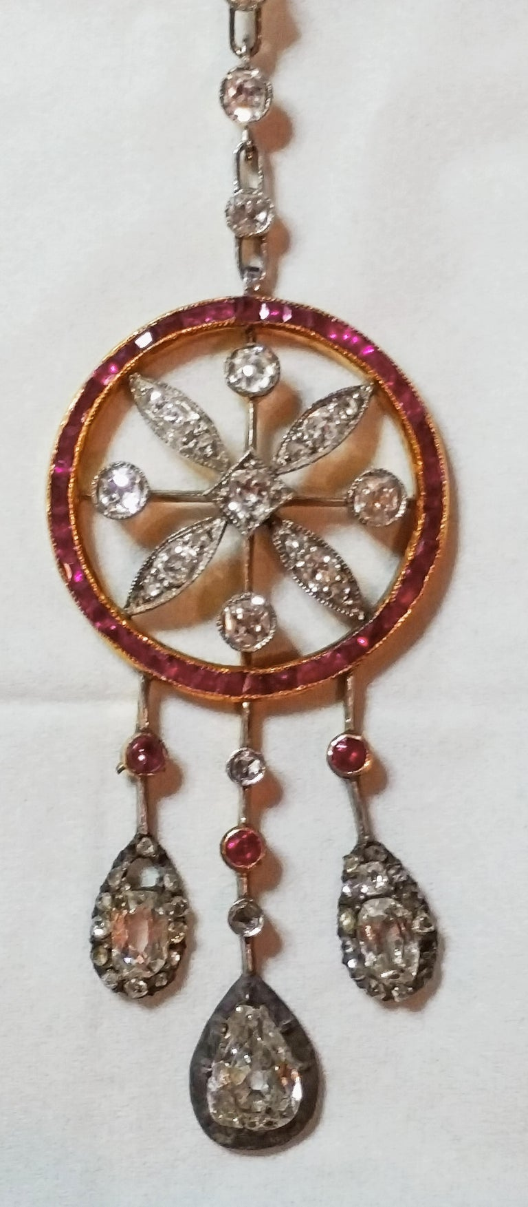 Old European Cut Art Nouveau Necklace Gold 585 Diamonds '3.0 Carat' Rubies Vienna Austria c.1910 For Sale