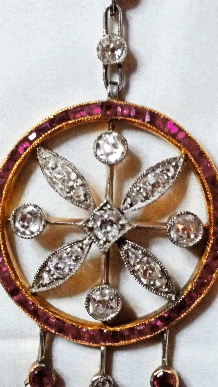 Art Nouveau Necklace Gold 585 Diamonds '3.0 Carat' Rubies Vienna Austria c.1910 In Excellent Condition For Sale In Vienna, AT