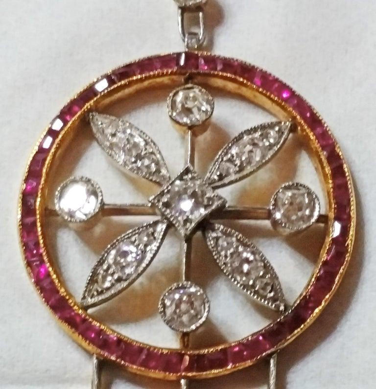 Women's Art Nouveau Necklace Gold 585 Diamonds '3.0 Carat' Rubies Vienna Austria c.1910 For Sale