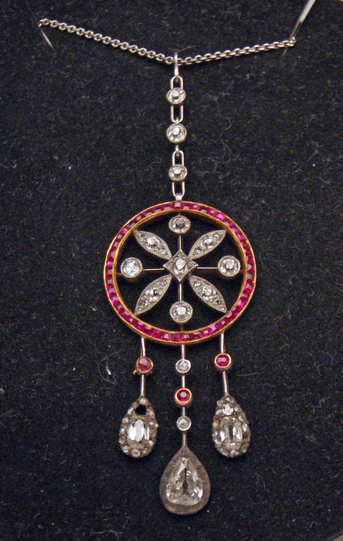 Art Nouveau Necklace Gold 585 Diamonds '3.0 Carat' Rubies Vienna Austria c.1910 For Sale 1
